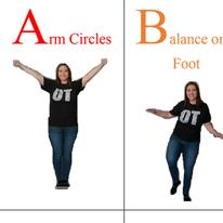 Arm circles, balance on one foot