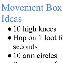 Movement Box Ideas
